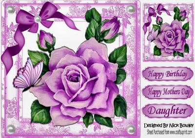Pretty Pink Painted Roses Butterflies 8x8 Cup665632415