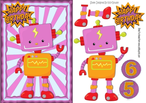 Robot In Pink Ornate Frame Ages 5 6 Brthday A5