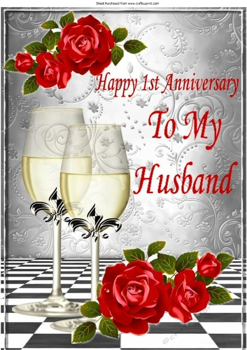 Happy 1st Anniversary To My Husband With Roses Champagne A4