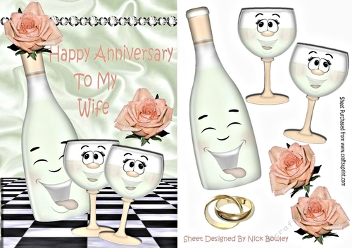 Happy Anniversary To My Wife With Peach Roses Toony Champagne A5