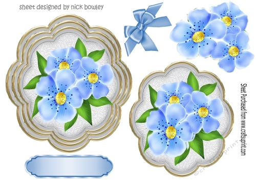 Pretty blue flowers on a ornate topper with corner bows pretty blue flowers on a ornate topper with corner bows cup873796415 craftsuprint mightylinksfo