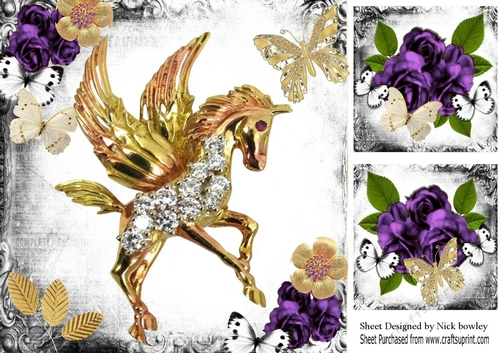 Fantasy Gothic Gold Unicornpurple Roses Butterflies 8x8