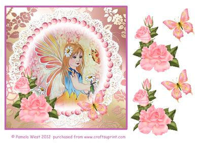 Watrecolour Fairy and Butterflies Decoupage Sheet