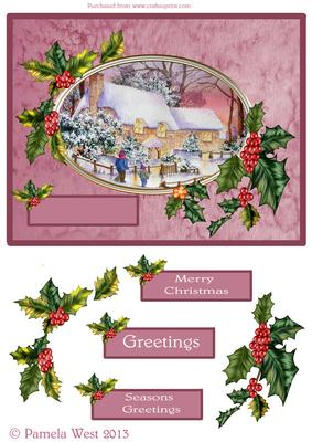 Snowman and Tartan Step by Step decoupage Card by Pamela West