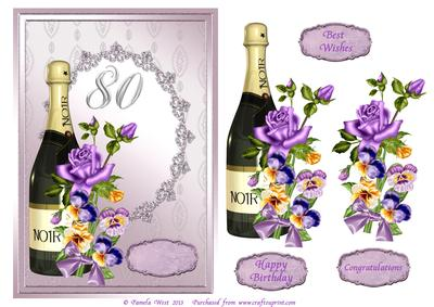 Champagne and Flowers 80th Birthday Decoupage Card Comes W – 80th Birthday Cards