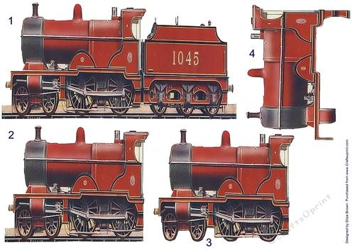 Steam Train /& Luggage Decoupage 1 x A4 Sheet