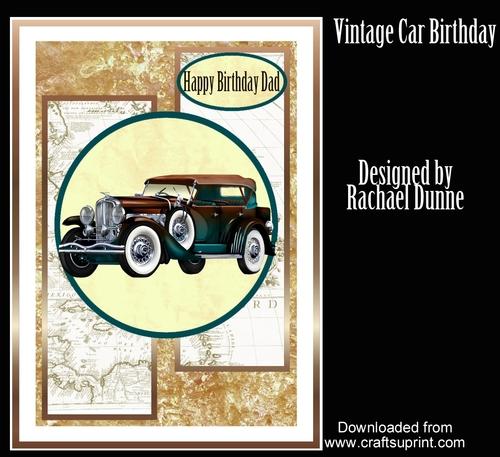 Brown And Teal Vintage Car Birthday