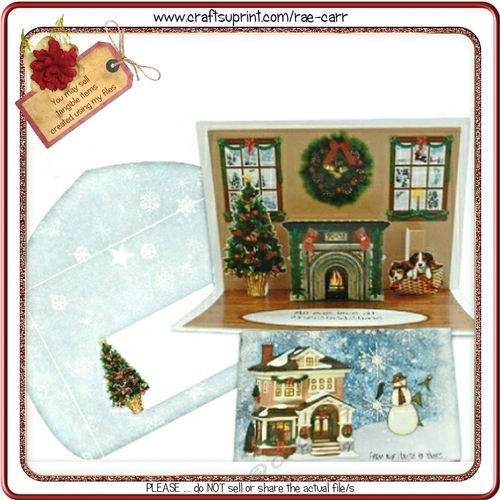 107 Christmas Fireplace Pop-up Card KIT