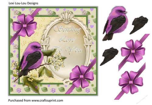 Little Bird Sending You Love 7x7 card front with decoupage