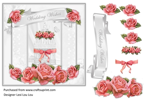 Quick Wedding Card with sentiment tag and decoupage decoupage.