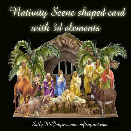 Nativity Scene Shaped Card Front With 3d Cup344569 49