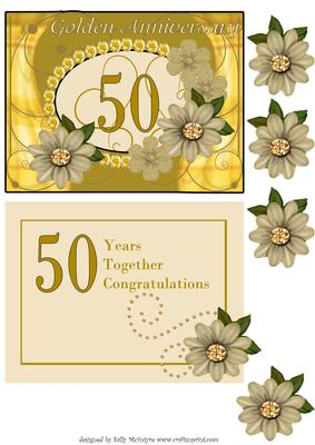 golden 50th wedding anniversary with insert and 3d flowers cup88157 49 craftsuprint. Black Bedroom Furniture Sets. Home Design Ideas