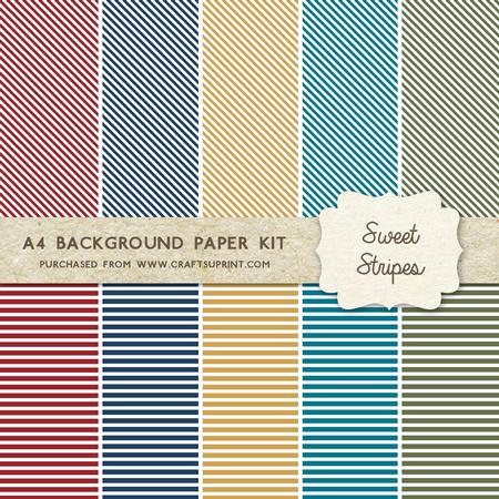 Sweet Stripes Retro Colours 10 A4 Background Sheets