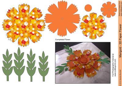 Marigold 3d Paper Flower