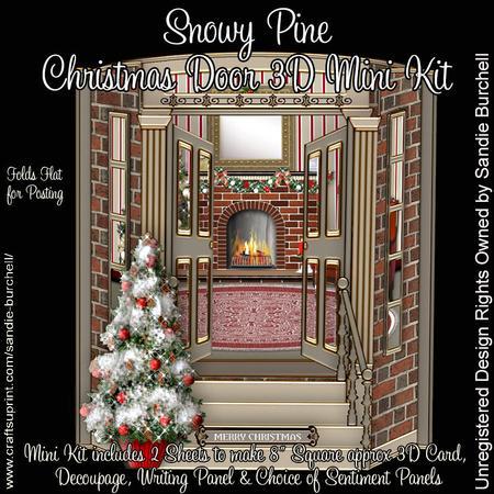 Christmas Door.Snowy Pine Christmas Door 3d Mini Kit