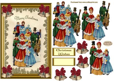 Vintage Carol Singers Decoupage Card Front - CUP338518_719 ...