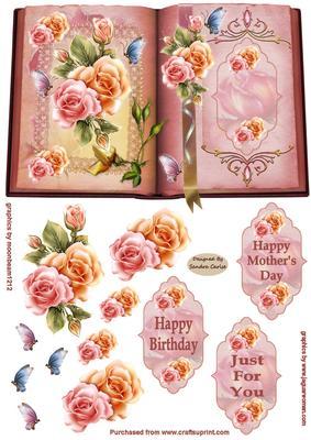 Flowers \u0026 Butterflies Decoupage Card Front