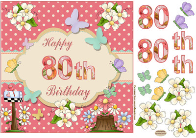 Happy 80th Birthday Butterfly Topper