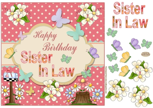 Happy Birthday Sister In Law Butterfly Topper