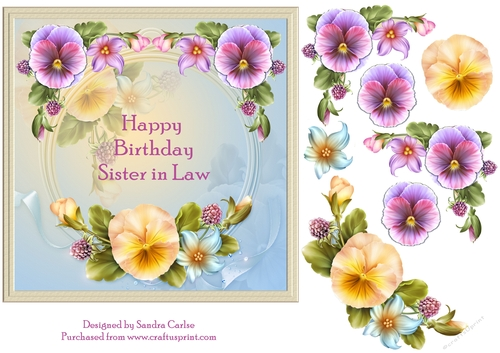 Happy Birthday Sister In Law Floral Topper
