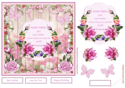 Pink Flowers Decoupage Topper 1