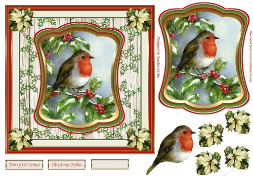 Christmas Verse Robin And Lantern Decoupage 1 x A4 Sheet