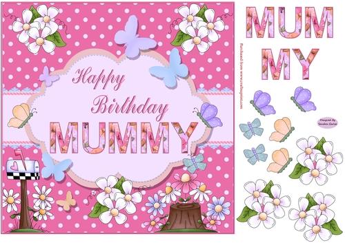 Happy Birthday Mummy Pink Topper Cup969506 719 Craftsuprint