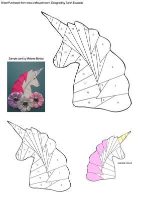 Unicorn Iris Folding Pattern Cup268025 172 Craftsuprint