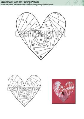 valentines heart iris folding pattern cup41144 172 craftsuprint