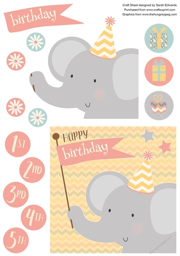 Baby Elephant 6x6 Inch Childs Birthday Card With Decoupage