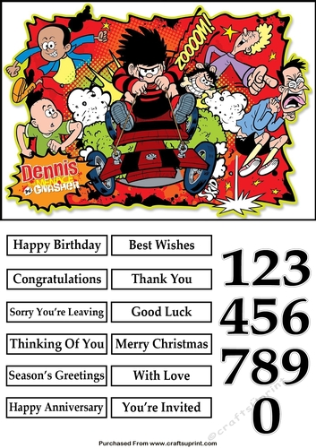Dennis The Menace 2 A5 Quick Card Cup83006682225 Craftsuprint