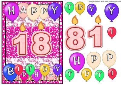 18th Birthday Candles Card Front
