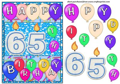 Male 65th Birthday Candles Card Front