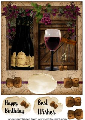 Large Red Wine Happy Birthday Best Wishes Card Front
