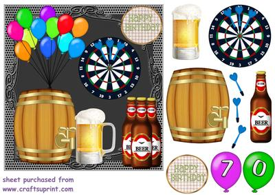 70th Birthday Beer And Darts Card Front Cup677184 539