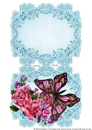 Butterfly in the Flower Garden - Scalloped Edge Card