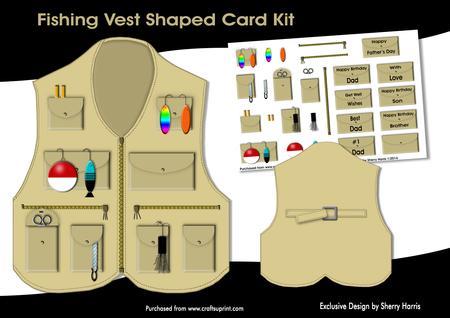Download Fishing Vest Shaped Card Kit Cup540945 2038 Craftsuprint