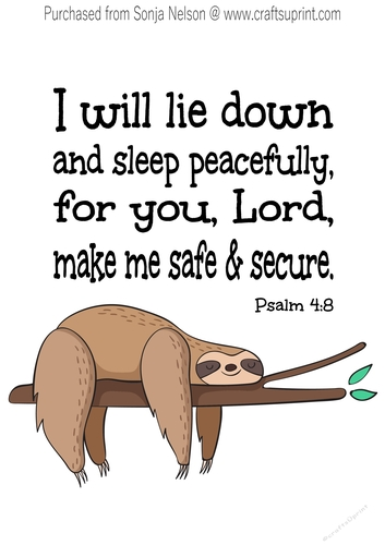 photo about Printable Word Art identified as Snooze Sloth Nursery Scripture Phrase Artwork Printable Wall Decor Print Established at 8X10 Psalm 4:8