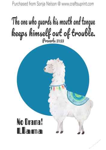 graphic regarding Llama Printable known as No Drama Llama Scripture Phrase Artwork Printable Wall Decor Print Established at 8x10