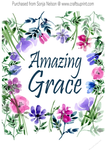 graphic regarding Printable Word Art named Printable Wall Decor 8x10 Unbelievable Grace Phrase Artwork Watercolor Print