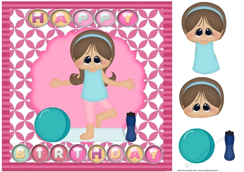 Happy Birthday Pink Yoga Card Front