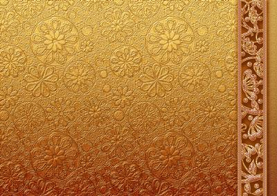 Gold Metallic Floral Embossed With Border Backing Paper
