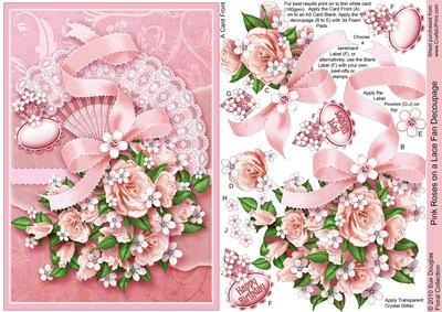 Pink Roses on a Lace Fan Decoupage