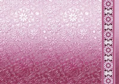 Pink Metallic Floral Embossed With Border Paper