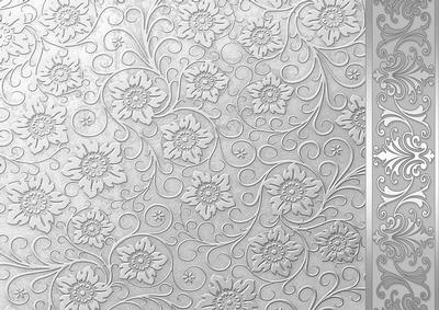 Silver Embossed Floral With Border Background Cup149285