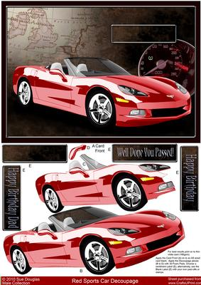 red sports car decoupage birthday driving test cup93747 422 craftsuprint. Black Bedroom Furniture Sets. Home Design Ideas