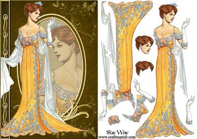 Art Nouveau Evening Gown Fashion Reflections Decoupage