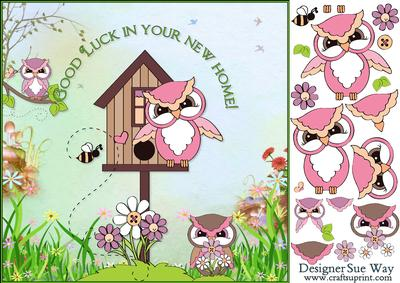 New home owl family card front and decoupage cup440324 for Enjoy your new home images