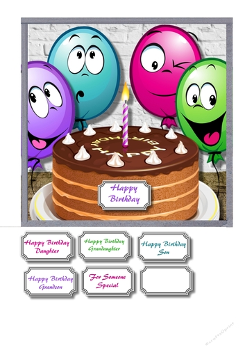 Birthday Cake With Funny Balloons