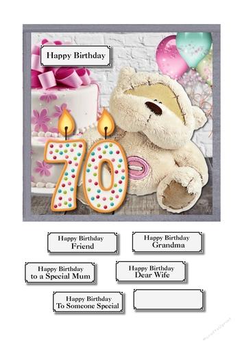 70th Birthday Bear Cake And Balloons